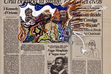 Riccardo Gusmaroli, Repubblica, 22 maggio 1991, tecnica mista su quotidiano, Courtesy Archivio Riccardo Gusmaroli / Galleria Ca' di Fra', Milano
