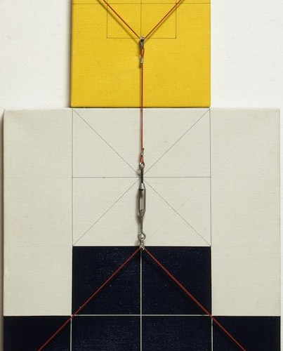 Gianfranco Pardi, Architettura, 1974, acrylic on canvas and cables, 75x50 cm Courtesy Cortesi Gallery