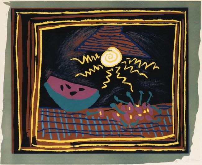 Pablo Picasso, Nature morte a la pasteque, 1962, linocut, 61x73 cm