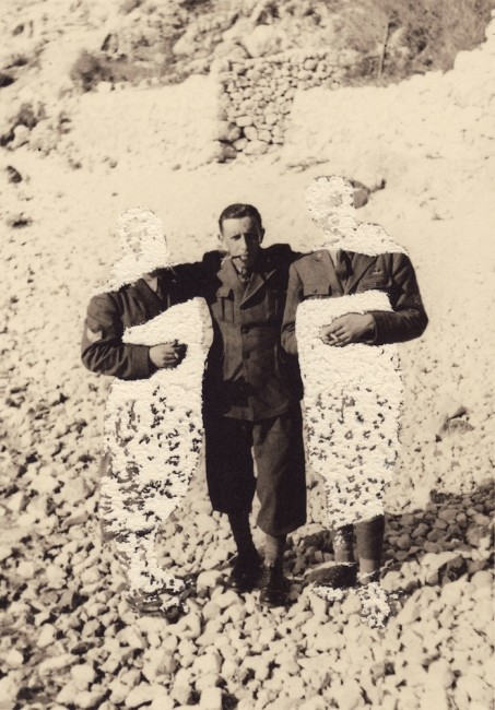 Kensuke Koike, Special Unit MAM Matteo the Invisible Big Arm Antonio Marco the Invisible, 2013, damaged vintage photo, 11.5x8 cm