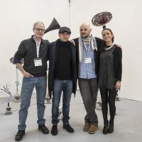 Dougals Henderson, Donato Piccolo, Mario Mazzoli, Llucia Longhi allo stand di Arte Fiera 2016 Bologna