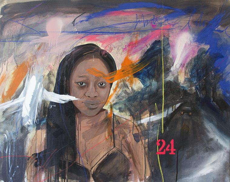 Ersilia Sarrecchia, Women 24, 2015, olio, acrilico, vernici industriali su tela su tavola, cm 75x95