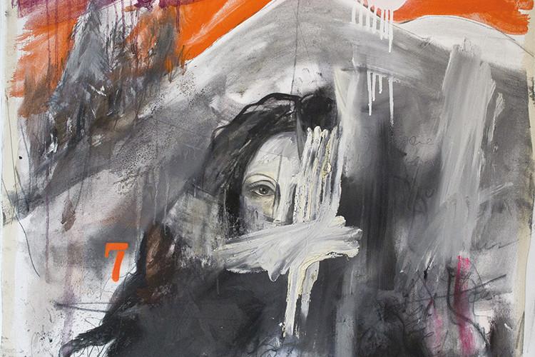 Ersilia Sarrecchia, A Woman 7, 2014, olio, acrilico, grafite, vernici industriali su tela di cotone su tavola, cm 90x90