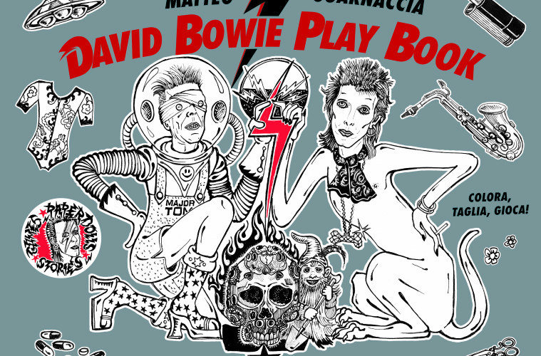 Cover volume David Bowie Play Book, 24 ORE Cultura, disegni di Matteo Guarnaccia