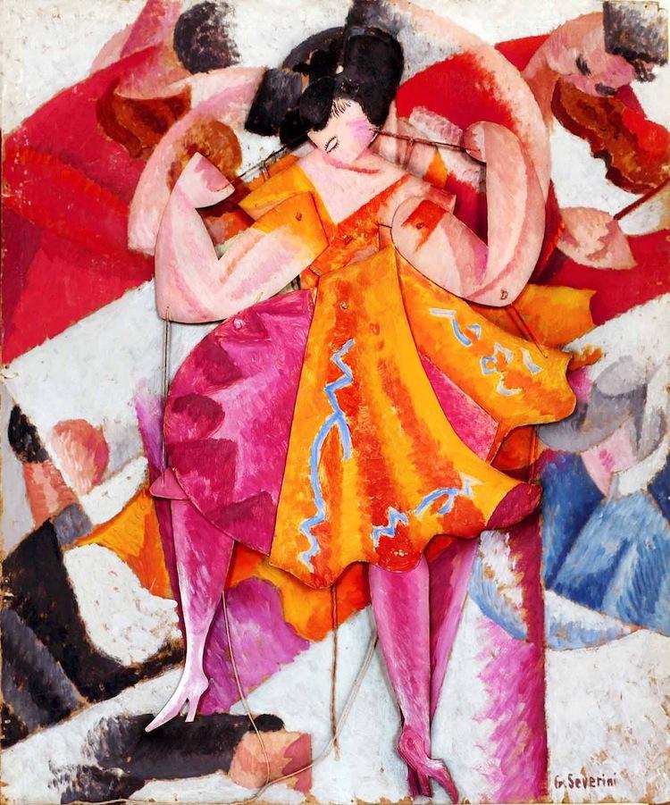 Gino Severini, Danseuse articulée, 1915, olio su cartone con elementi mobili