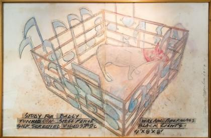 Dennis Oppenheim, Study For a Badly Tuned Cow 1989 Matita, pastello e pittura ad olio su carta, 150x230 cm Courtesy Montrasio Arte, Milano