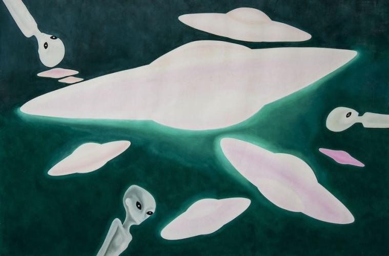 Tommaso Lisanti, Universi-profezie, 2000-2008, olio su tela, 300x200 cm