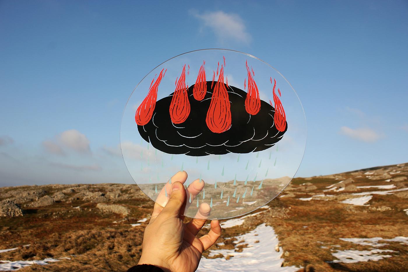 Andreco, Burning Cloud, Changing Climate, 2015, stampa serigrafica su plaxiglass, courtesy dell'artista