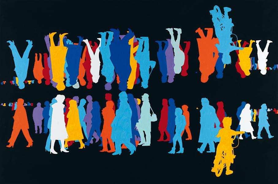 Corps à corps, bleu, Paris-Sienne 2003-2006, Centre Pompidou, Musée National d'Art Moderne, achat 2007, © Gérard Fromanger 2016, © Collection Centre Pompidou/Dist. RMN-GP, photo Philippe Migeat