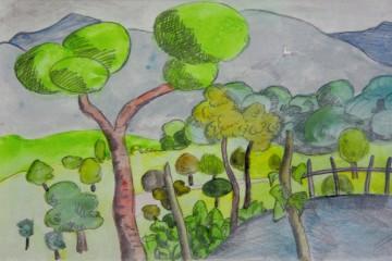 Un acquerello di Hermann Hesse. Courtesy Fondazione Hermann Hesse Montagnola