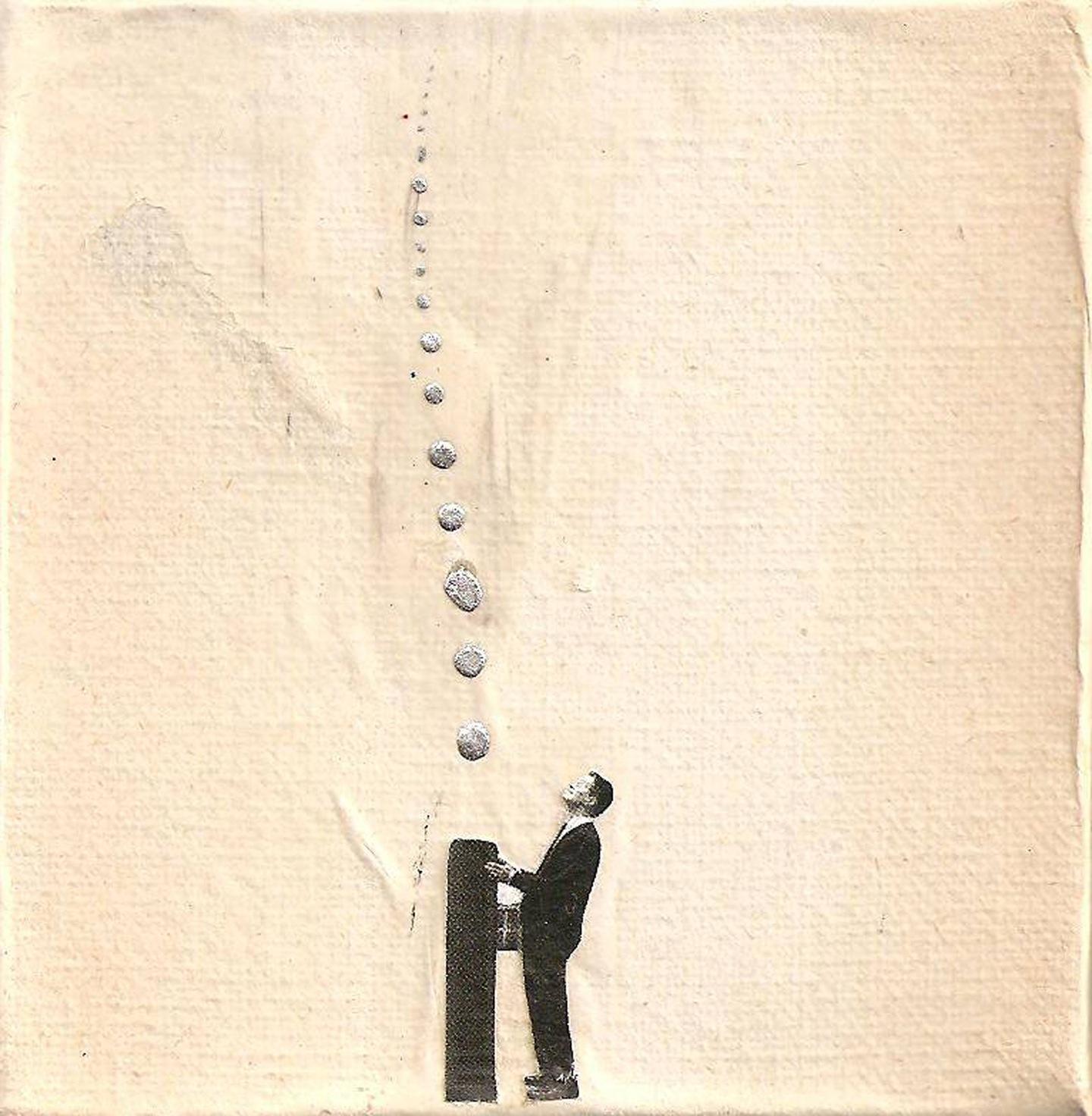 Jimmy Rivoltella, dimore project, collage su tela, 10x10cm