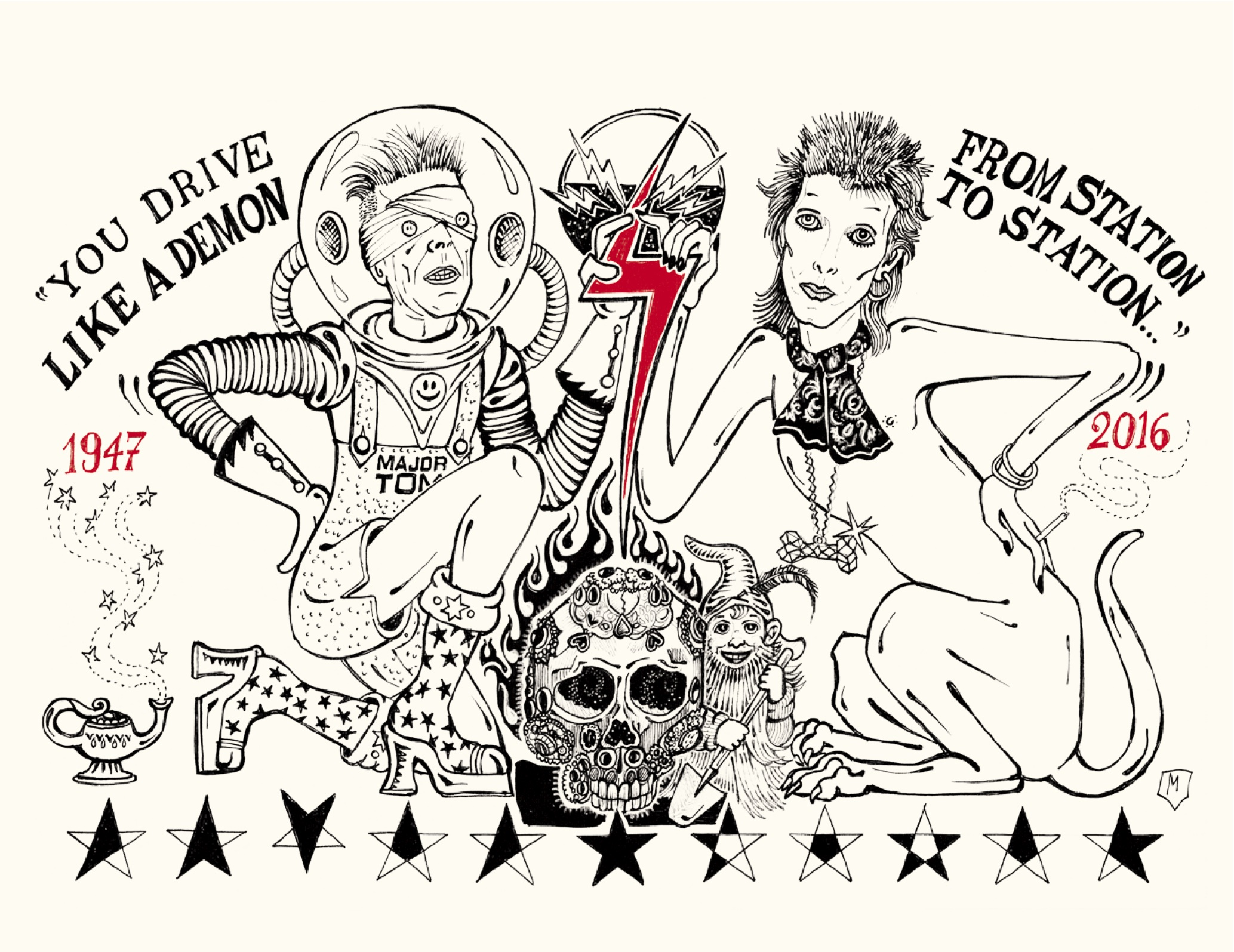 David Bowie Play Book, 24 ORE Cultura disegni di Matteo Guarnaccia