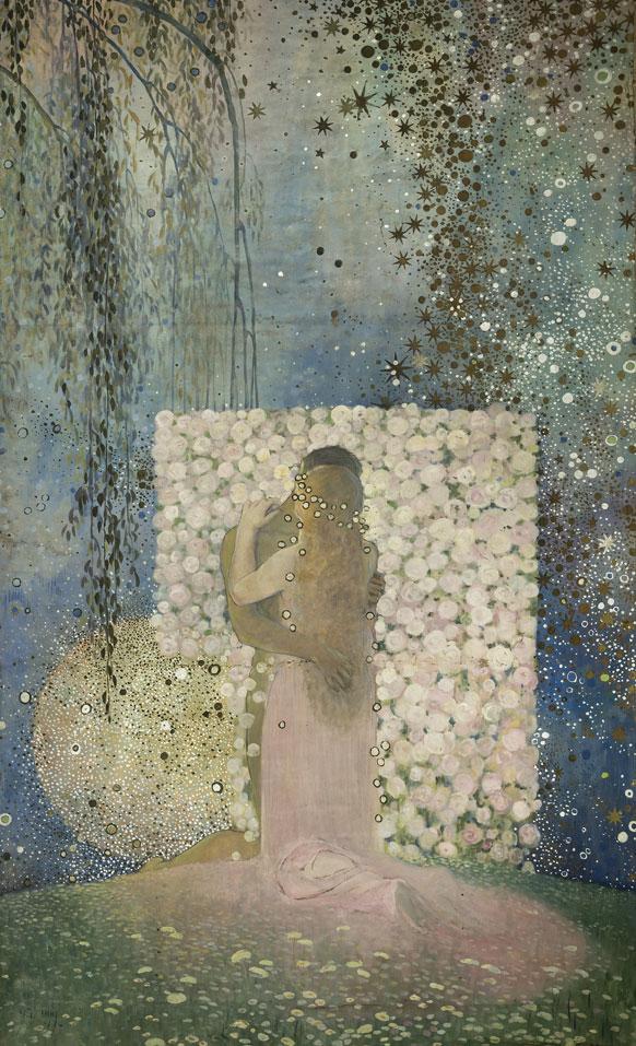 Galileo Chini, L'Amore, 1919, olio su tela, 277x172 cm, Livorno - Lucca, 800/900 Artstudio - Studio d'arte dell'Ottocento © Ghilardi, Lucca