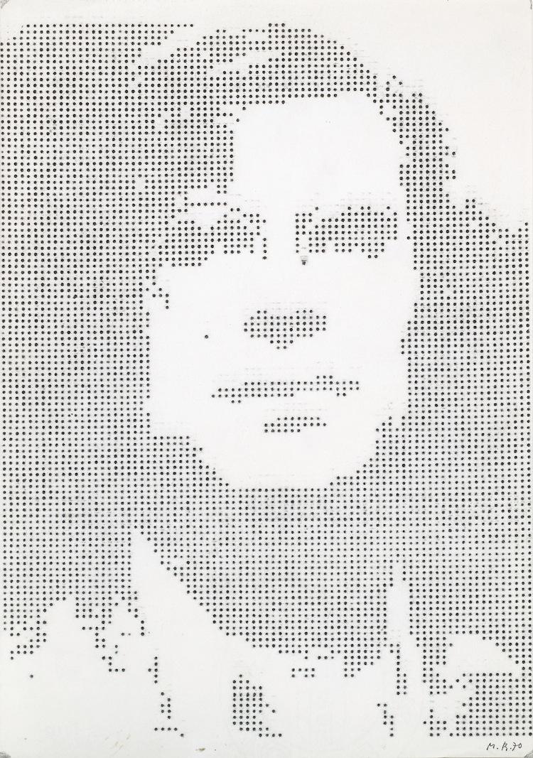 Markus Raetz, Bildnis des Künstlers als Schreibmaschinist, 1970, dattilografia, 273x203 cm © 2016 Markus Raetz, Prolitteris, Zürich