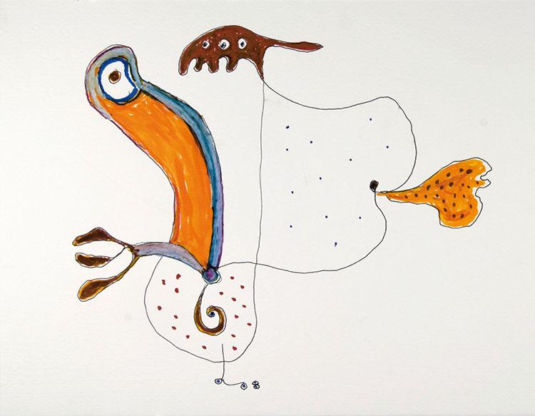 Gillo Dorfles, Senza titolo, 2008, pennarello e acquarello su carta, cm 22x28. Collezione A & C, Como