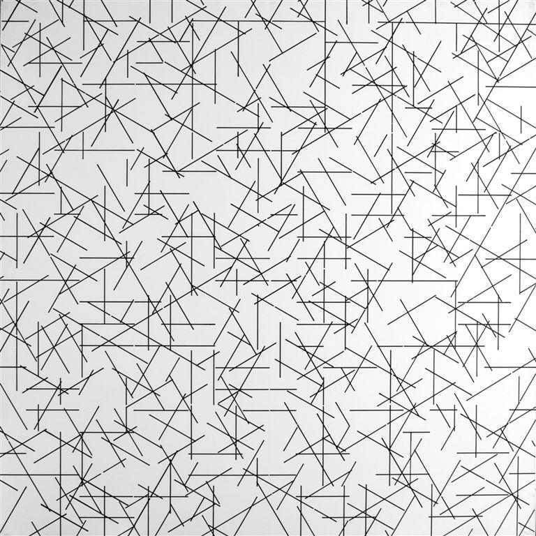 Alberto Zilocchi, Linee, 1980, inchiostro su tela ad acrilico bianco applicato su tela, cm 80x80