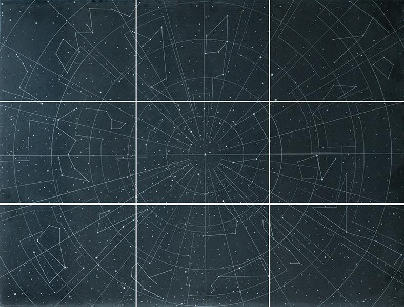 Dario Goldaniga, Mappa Stellare, 2016, incisioni su lavagna, 270x360 cm, esemplare unico