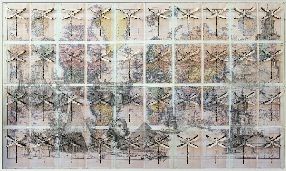 Pietro Ruffo, Atlante delle diverse architetture, 2015 grafite e intagli su carta, 143x234 cm