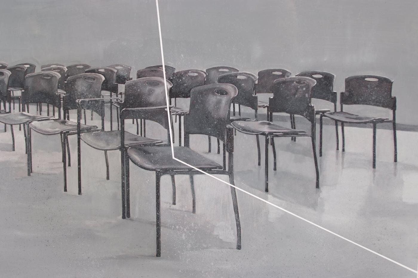 Michele Attianese, Refraction (particolare) olio su legno, cm100x100