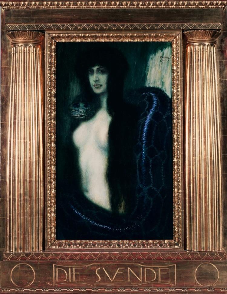Franz von Stuck, Il peccato, 1908, olio su tela, 86.5x50.5 cm, Palermo, Galleria d'Arte Moderna Empedocle Restivo © Galleria d'Arte Moderna Empedocle Restivo, Palermo