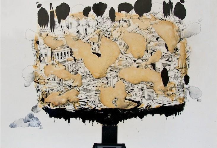 Ugo La Piertra, L'immagine della città, 1974, tecnica mista su carta, 80x80 cm