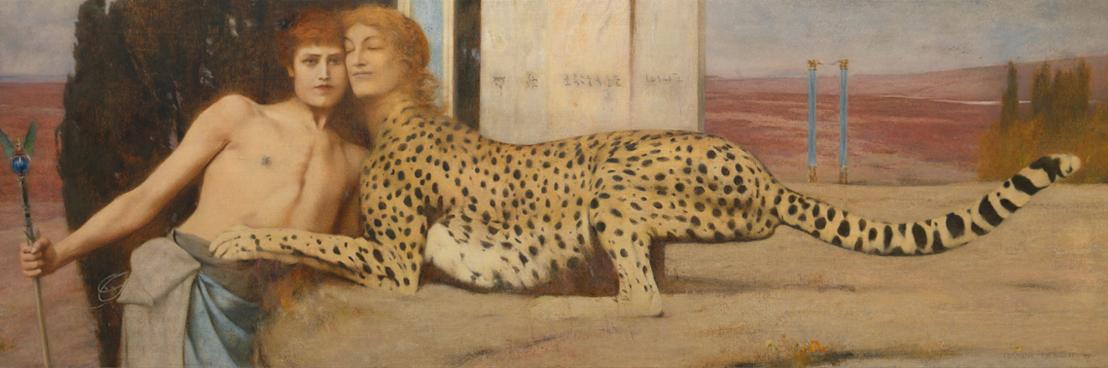 Fernand Khnopff, Carezze (L'Arte), 1896, olio su tela, 50.5x151 cm, Bruxelles, Musées Royaux des Beaux-Arts de Belgique inv. 6767 © Royal Museums of Fine Arts of Belgium, Brussels / foto J. Geleyns