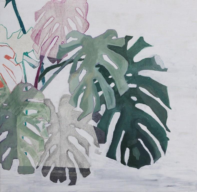 Federica Giulianini, Monstera #1, 2016, tecnica mista su tela, cm. 50x50