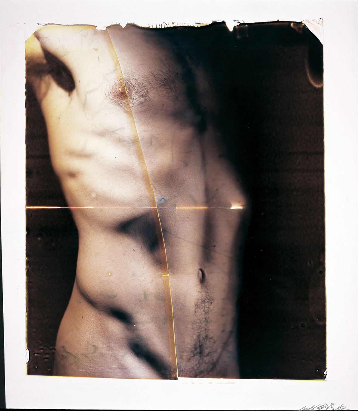 Paolo Gioli, Vessazioni (Abuses), 2007, Polaroid 20x24'' and transfers on acrylic, lens photograph