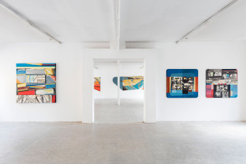 Paolo Gioli, Installation view at Peep-Hole, 2016 Front, from left: Scomponibile (Decomposable), 1970, oil on canvas, decomposable elements in charcoal and pastel, black and white, Schermo-schermo (Screen-screen), 1974, oil on canvas, black and white photographic prints Rear: Grande proiezione orizzontale (Big Horizontal Projection), 1969, oil on canvas Photo ©2016 Andrea Rossetti