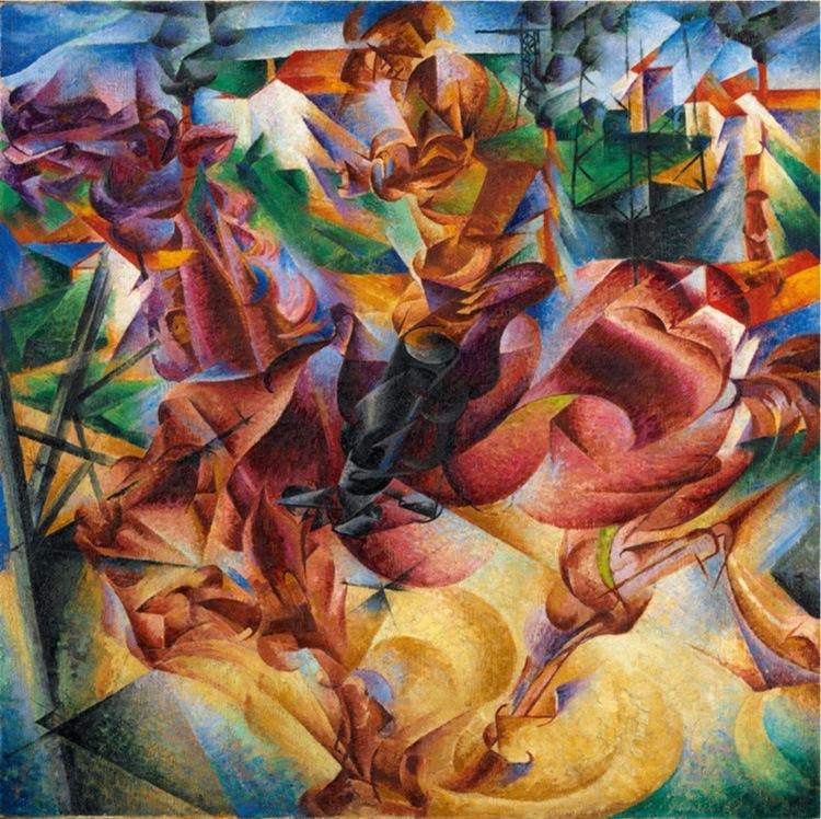 Umberto Boccioni, Elasticità, 1912, olio su tela, 100x100 cm, Milano, Museo del Novecento, Collezione Jucker