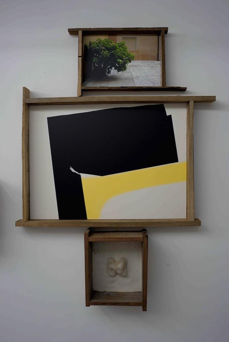Fasta Squatriti, Beta Solitudo Sola Beatitudo, 2015, fotografia, pigmenti, pastello, cera, gesso, legno, 173x120x18