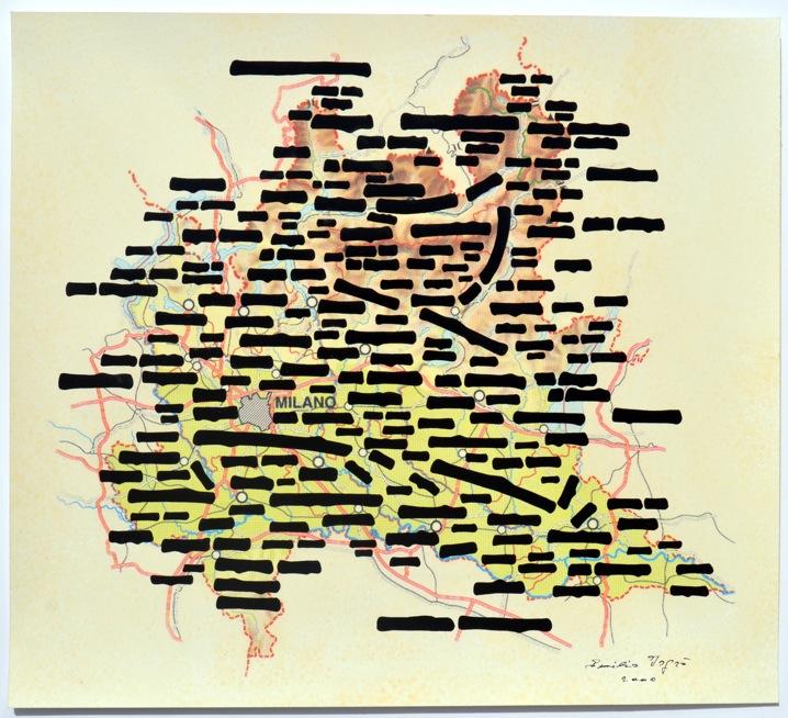 Emilio Isgrò, Carte lombarde, 2010, tecnica mista su carta, cm 40x45. Courtesy Allegrini Arte Contemporanea