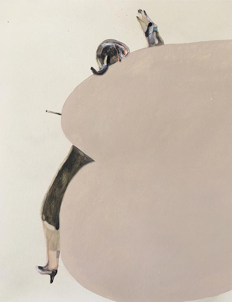 Guglielmo Castelli, La valutazione sui futuri vuoti piuttosto che gli attuali pieni, 2016, olio su tela, cm 30x25. Courtesy: Francesca Antonini Arte Contemporanea