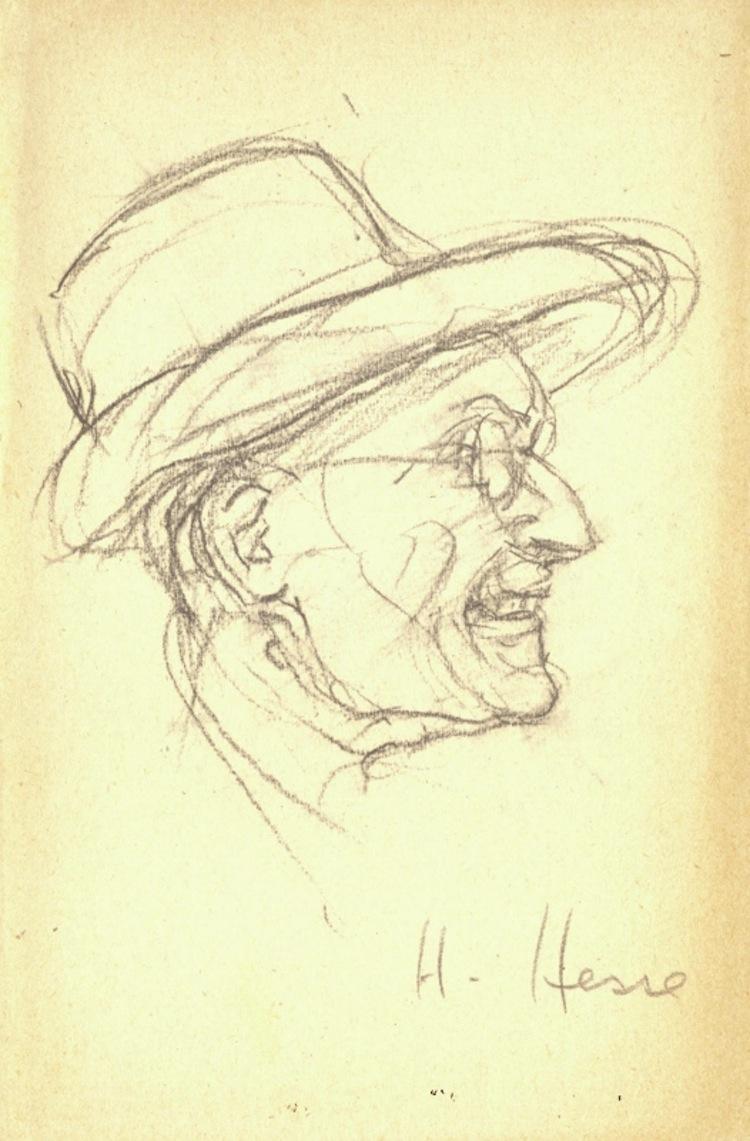 Hermann Hesse, Autoritratto inedito, matita su carta Foto Fondazione Hermann Geiger