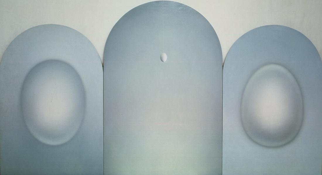 """Fulvia Levi Bianchi, Interpretazione della """"Sacra conversazione"""" di Piero della Francesca, 1978, olio su tela, 270x155 cm (tre elementi)"""