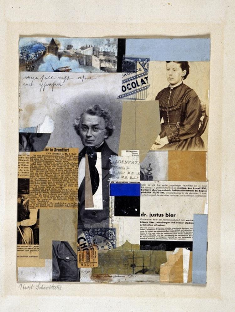 Kurt Schwitters, Man soll nicht asen mit Phrasen, 1930, collage su cartone, 36.5x28.5 cm, Collezione Annette e Peter Nobel