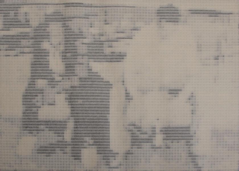 Giorgio Tentolini, Persone Sedute, 2015, papertape, cm 50x75