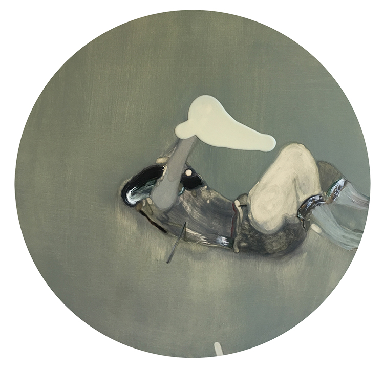 Guglielmo Castelli, Acetilcolina, 2016, olio su tela, ø cm 50. Courtesy: Francesca Antonini Arte Contemporanea
