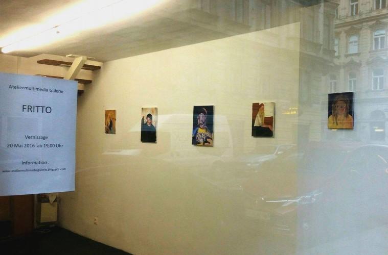 """Dario Molinaro """"Fritto"""" veduta della mostra Ateliermultimedia Galerie, Vienna"""