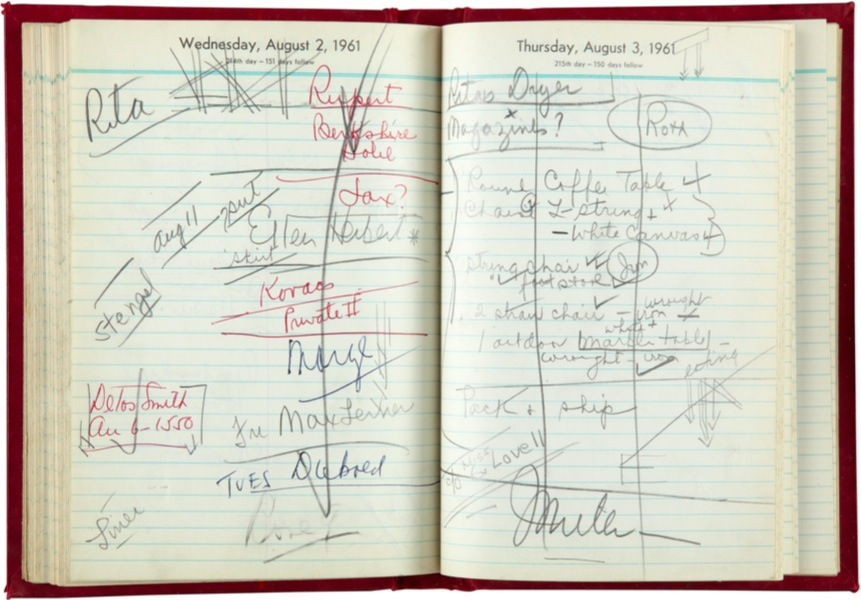 Original Marilyn Monroe's daily planner with initials, 1961. Collection Stampfer. Photo + Copyrights: Ted Stampfer