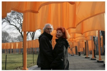 "February 2005, Christo and Jeanne-Claude during the work of art ""The Gates, Central Park, New York City, 1979-2005"" Photo: Wolfgang Volz (c) Christo 2005"