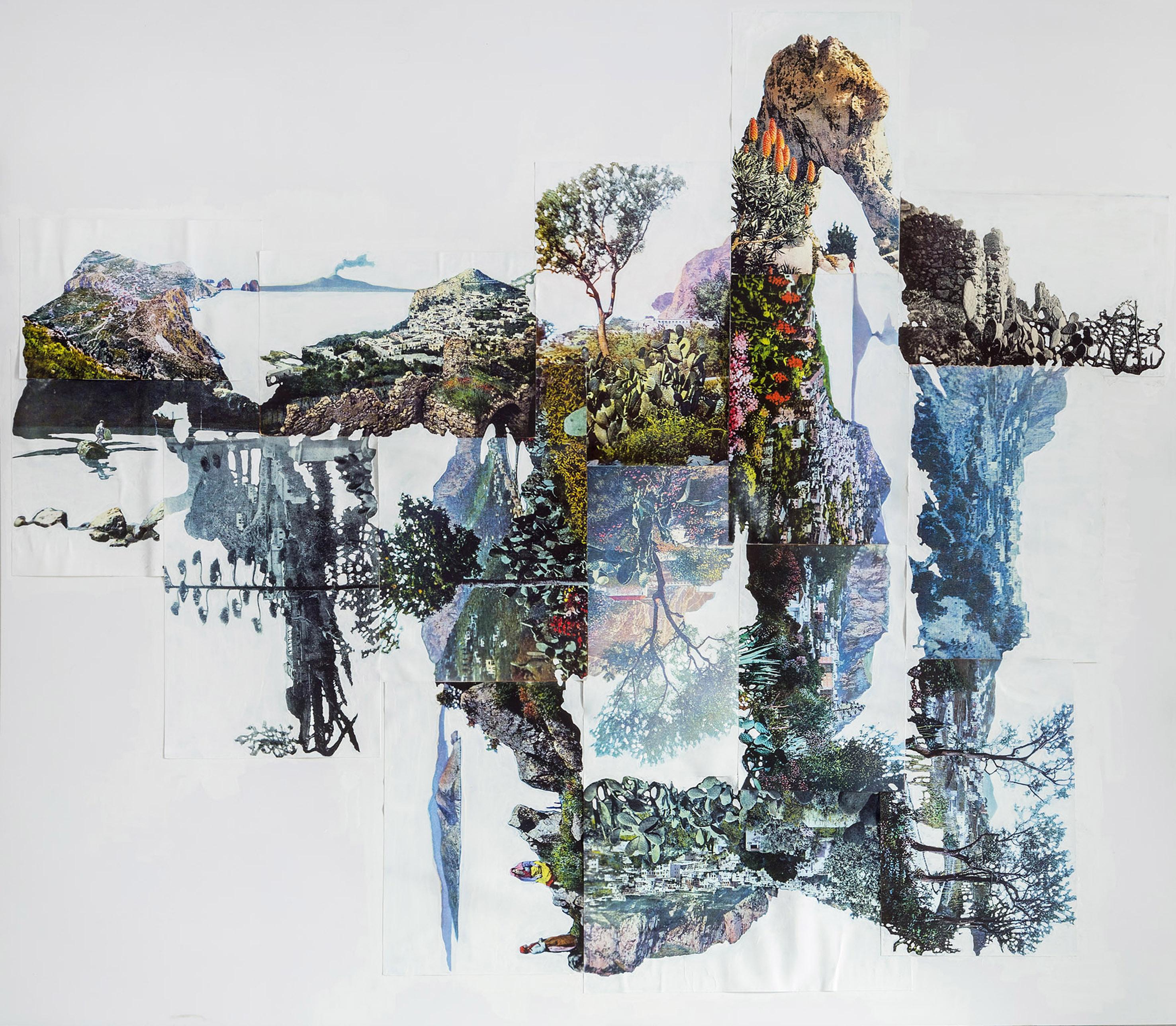 Eugenio Tibaldi, Myth's Landscape 01, 2016, Collage di stampe digitali tratte da cartoline e acrilico bianco, cm 136 x 156
