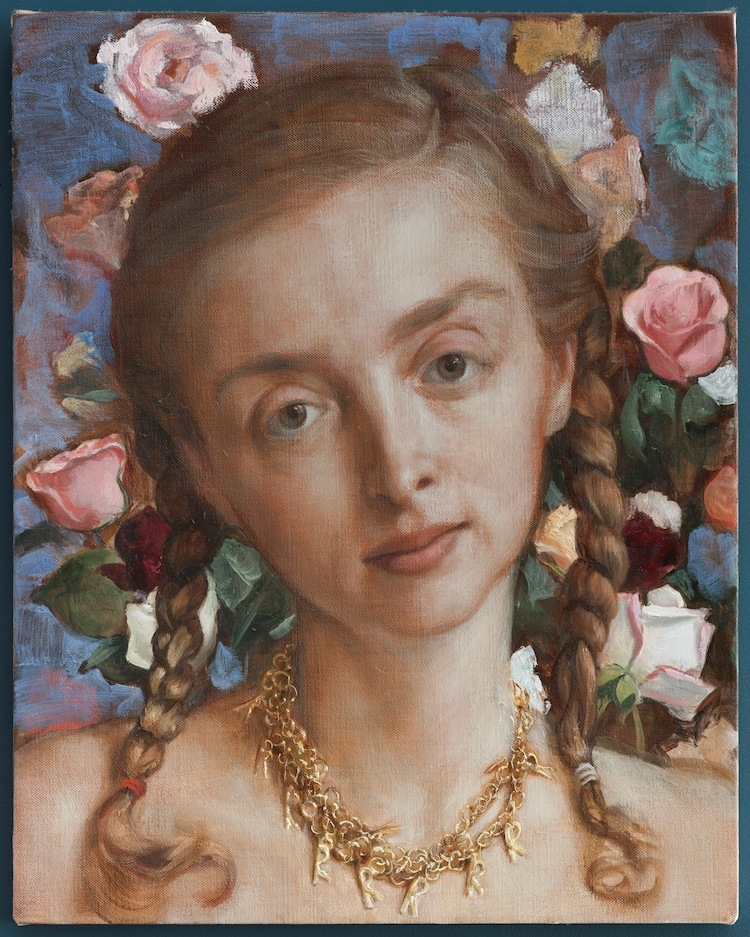 John Currin, Rachel in the Garden, 2003, olio su tela, 50.8x40.6 cm, Private Collection © John Currin Courtesy Gagosian Gallery Photography by Rob McKeever