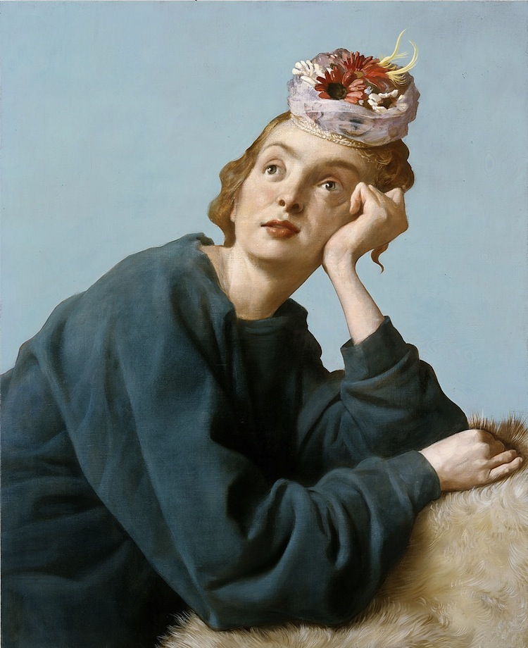 John Currin, The Penitent, 2004, olio su tela, 106.7x86.4 cm Private Collection © John Currin Courtesy Gagosian Gallery Photography by Rob McKeever