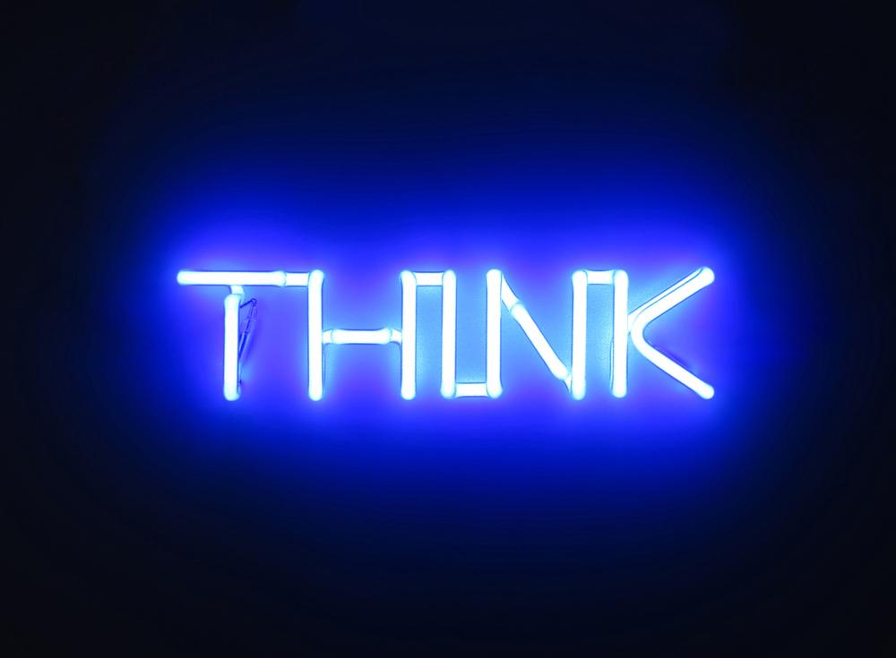 """Think, 2016, neon cm 33 x 8 x 3.5 , multiplo, versione blu di serie in tre colori (blu, rosso, giallo), totale 21 esemplari firmati e numerati prodotto per la mostra """"Think"""", COLLI independent art gallery, Roma giugno 2016"""