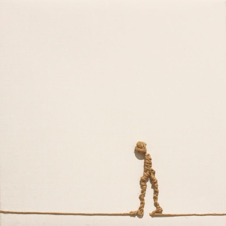 Alex Pinna, Senza Titolo, 2016, corda su tela, 20x20 cm
