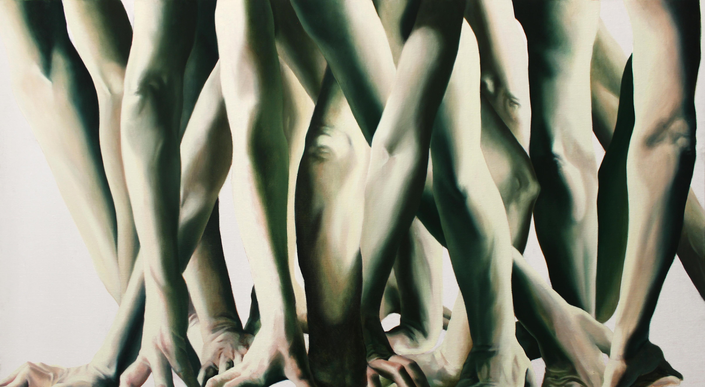 Marta Dell'Angelo, Presa, 2016 olio su tela, 80x140cm Courtesy Galleria Passaggi, Pisa