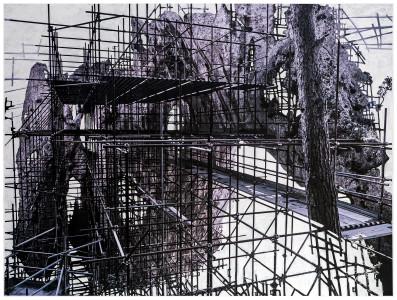 Raffaela Mariniello, Eugenio Tibaldi, Capri B&B, 2016, Fotografia stampata su forex e pittura bianca, cm 80 x 130