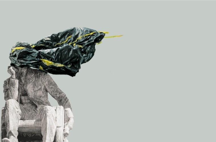 """Mahony Collective, Ghosts and the self, 2016, collage di fotografie provenienti dalla manifestazione di protesta """"Rhodes Must Fall"""" alla University of Cape town, Sud Africa, 2015 Courtesy Mahony Collective"""