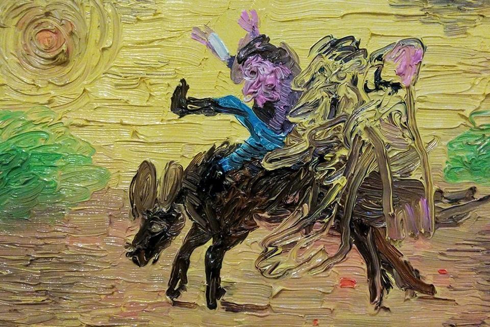 "Dario Molinaro ""he saw horses"" - olio su tela, cm 30x20_ anno 2016 Courtesy Ateòiermultimedia Galerie, Vienna"